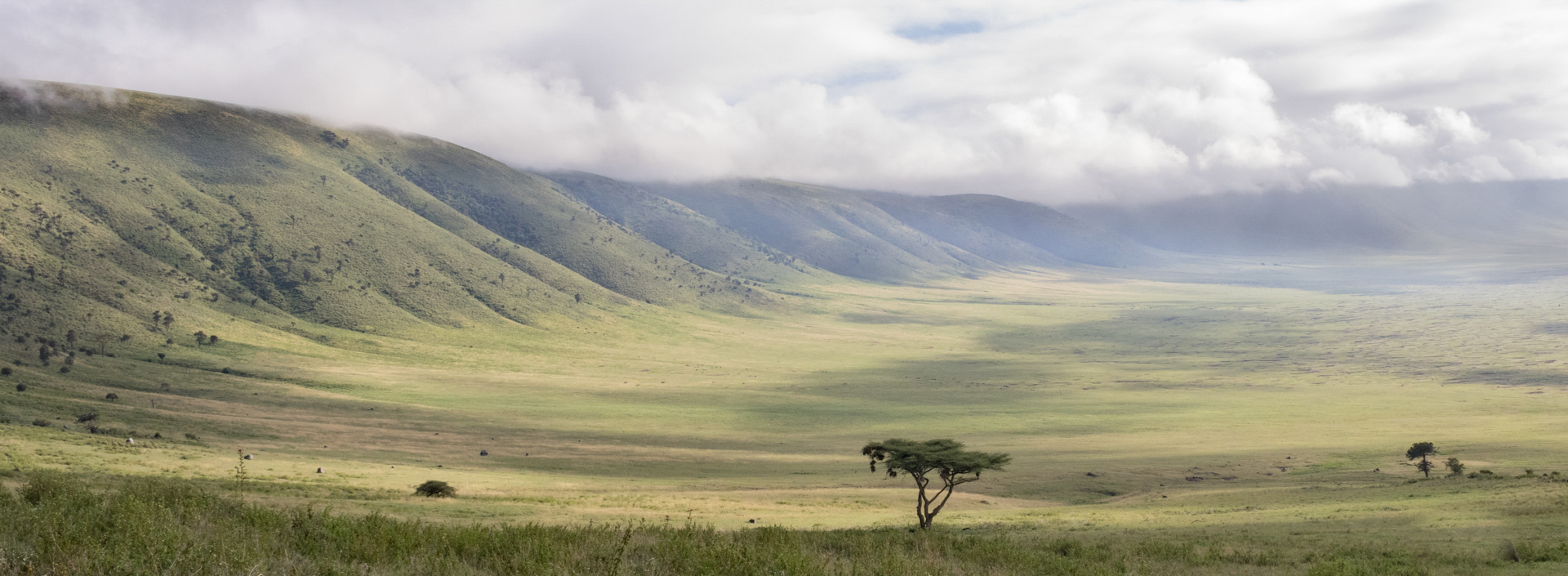 Cloud clearing in Ngorongoro Crater