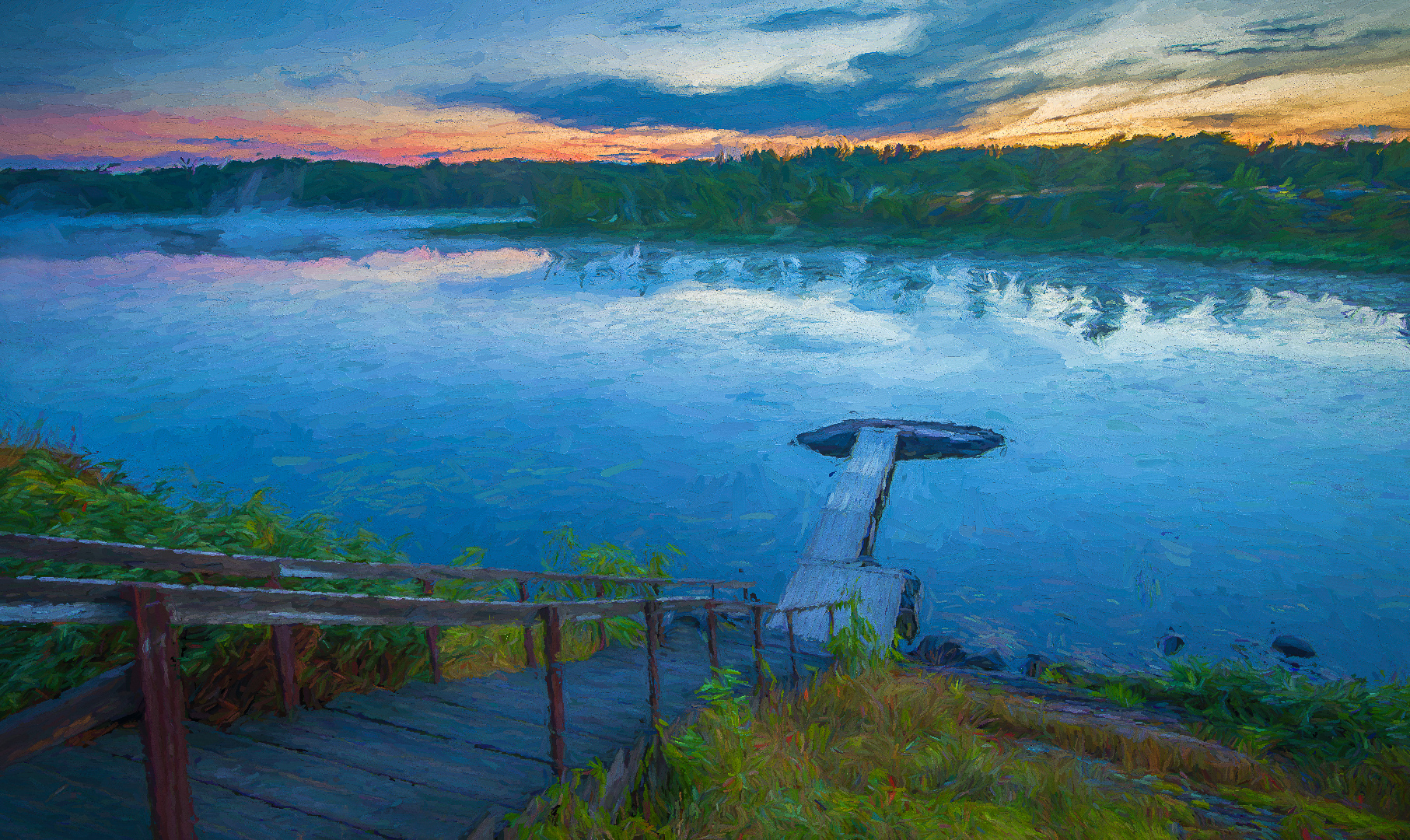 Sunrise on French river