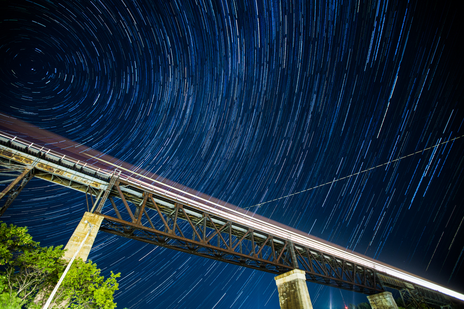 Star Trails over the Train and CPR Trestle