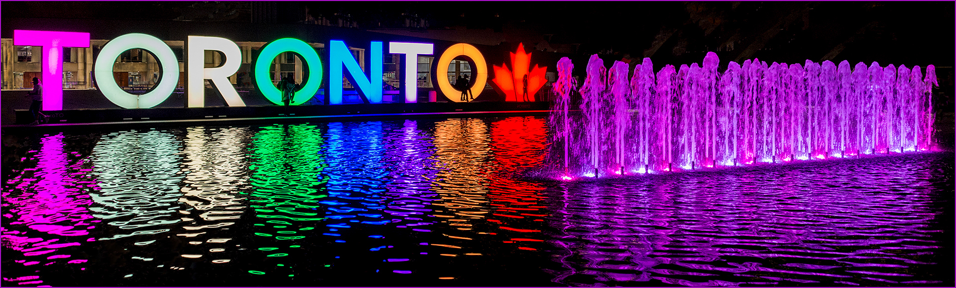 Toronto City Hall pond and sign