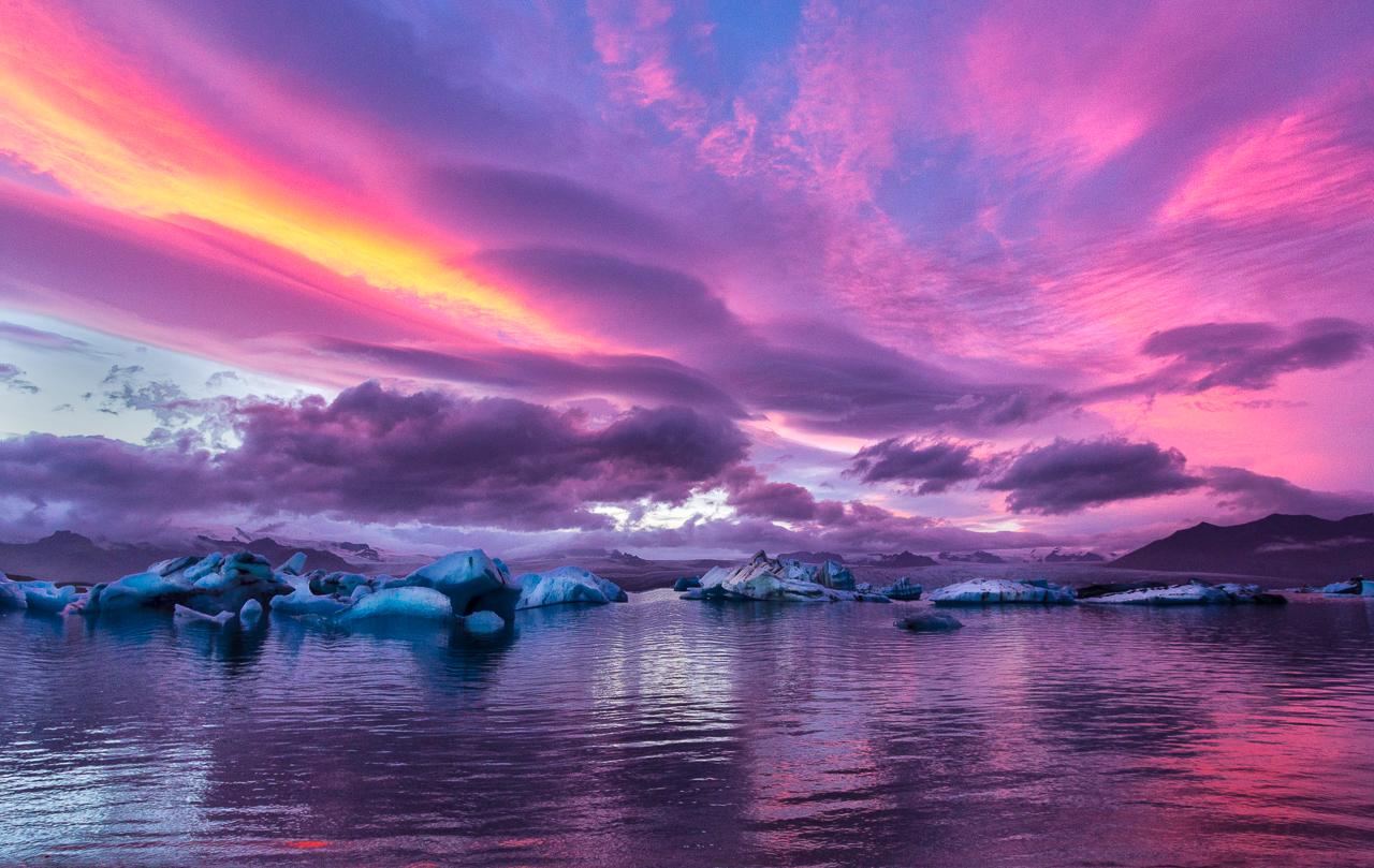 Sunset at Jokusarlon