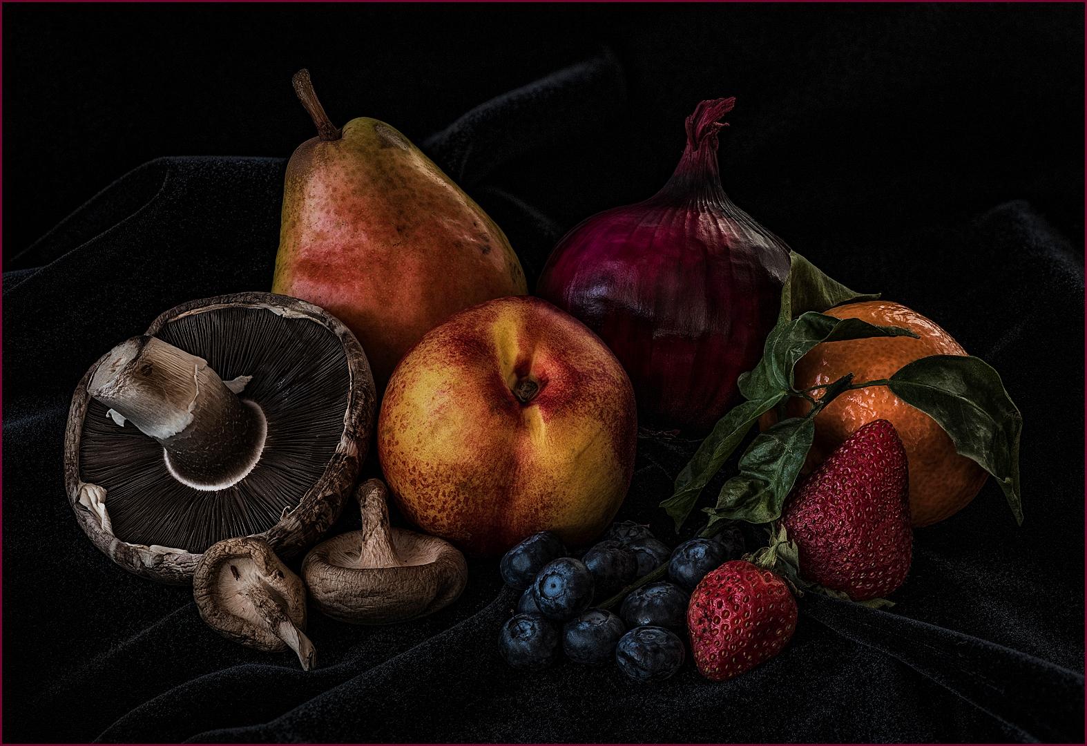 Still Life-fruit And Mushrooms