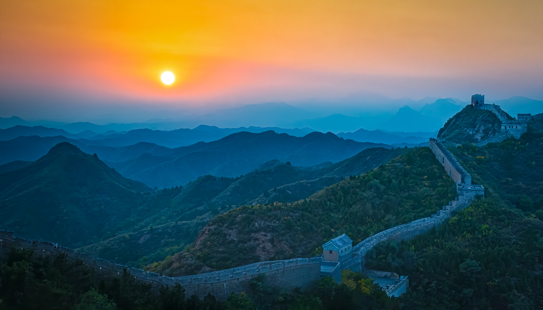 Misty Sunset at the Great Wall