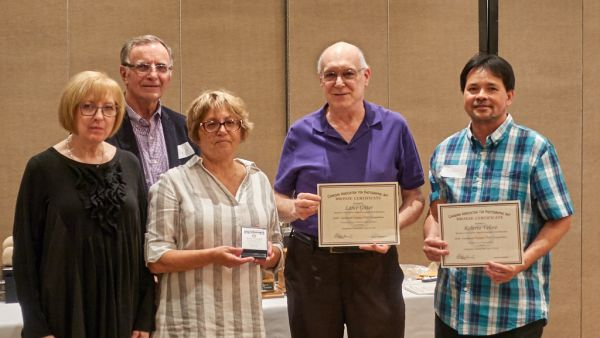 Diana Noriel, Tony Scopazzi & Luba Citrin presenting Lance Gitter & Roberto Veloso Bronze Medal Certificates in Club CAPA Competition (Canada: My Country)